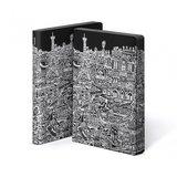 52071 - Notitieboek A5 - Parijs, zacht leer, witte print_