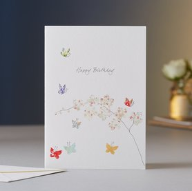 EH041 - Butterfly  & Orchids Birthday