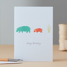 EH092 - Hippopotamus & Grass Birthday