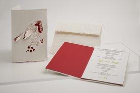 0670 - roodborstje handgeschept papier