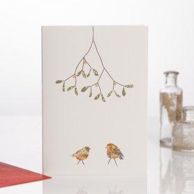 EH120 - Two Robins & Mistletoe
