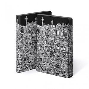 52071 - Notitieboek A5 - Parijs, zacht leer, witte print