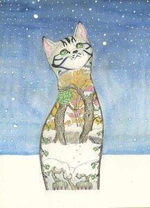 E052 - kat in de sneeuw
