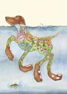 E044 - zwemmende hond